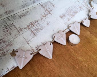 FREE SHIPPING- Home is where the Heart is' Ceramic bunting, ceramic heart hanger, home decor, gift idea.
