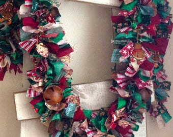Christmas Garland with rustic jingle bells and Gingerbread,Christmas decoration,Fabric garland,Christmas Party decoration,Holiday decoration