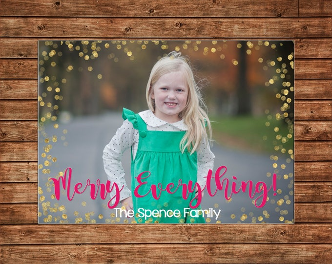Christmas Holiday Photo Card Gold Glitter Confetti Hot Pink - Can Personalize - Printable File or Printed Cards