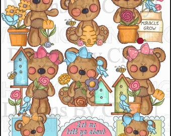 Cuddle Bear Birds and the Bees Clipart Collection - Immediate Download