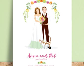Custom Wedding Portrait - Personalised Couple Illustration - Illustrated Wedding Gift - Bride & Groom - A4 Print - Digital File
