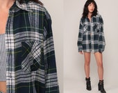 90s Flannel Shirt Oversized Plaid Shirt Grunge Button Up Navy Blue White Green 1990s Lumberjack Vintage Oversize Long Sleeve Extra Large xl