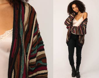 Striped Cardigan Sweater 90s Sweater Grandpa Boho Button Up Knit 80s Preppy Cosby Vintage Retro Burgundy Brown Oversized Extra Large xl