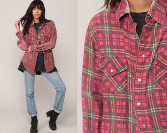 Flannel Shirt Red Plaid Shirt 70s PEARL SNAP Button up Down Top Long Sleeve Grunge 1970s Vintage Rockabilly Large