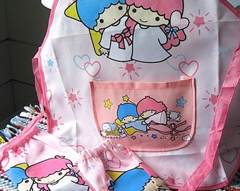 Sanrio Little Twin Stars Vintage Child's Apron With Separate Arm Cuffs Unmarked But Sanrio Quality VTG Like New and Clean Read Details