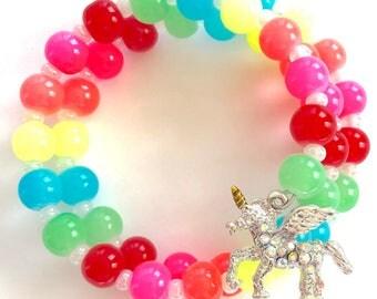 Unicorn neon rainbow bracelet. Colorful jewelry. Kids jewelry. Gifts for girls. Unicorn party. Lularoe accessory. Best friends. Neon colors.