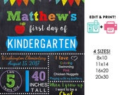 DIY editable printable First day of school poster ANY grade Boys chalkboard Instant download sign Digital File PDF 16x20 or 20x30 8x10