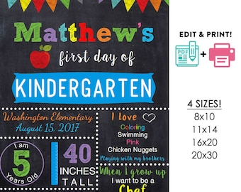 BOYS editable printable First day of school poster | any grade DIY chalkboard Instant download sign Digital File PDF 16x20 or 20x30 8x10