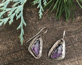 Charoite Stone and Sterling Silver Dangle Earrings