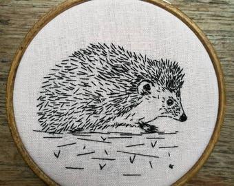 Black work, Embroidered Hedgehog Hoop