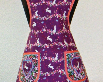 Hopping Bunnies And Flowers Full Woman's Apron