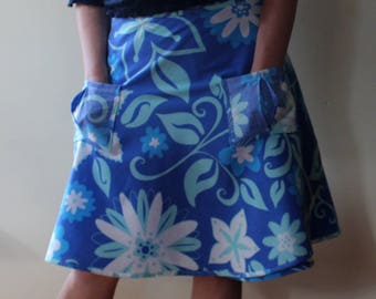 Wrap Skirt (one size fits most small - large) blue floral with pockets.