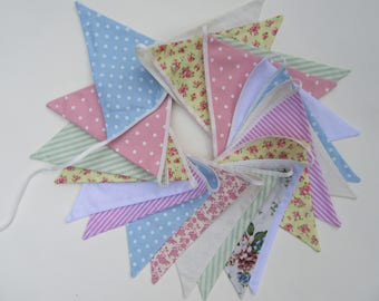 English summer bunting, pastel cotton flags in various colors approx 5 metres  (16ft) long