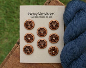 8 Wood Tree Buttons- Cherry Wood- Wooden Buttons- Eco Craft Supplies, Eco Knitting Supplies, Eco Sewing Supplies
