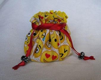 Traveling Jewelry Pouch -  Medium Size - Fabric Tote - Jewelry Bag - EMOJI