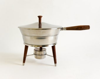 Vintage Mid Century Dolphin 18/8 Stainless Steel and Wood 5 Pc Chafing Dish, Buffet Food Serving Entertaining Party Ware