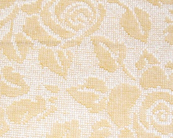 Yellow Fieldcrest Cabbage Rose Hobnail Vintage Cotton Chenille Bedspread Fabric Corner Cut