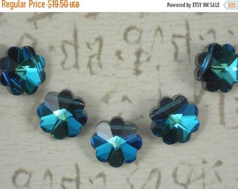 ON SALE 6 Rare Flower Beads Swarovski Crystal Margarita 14mm Vintage Bermuda Blue Art 5110 (6016 -6)