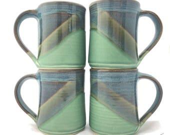 Set of 4 Ceramic Pottery Coffee Mugs -- Blue Green Handmade stoneware ceramic cups -- Hand thrown ceramic mugs