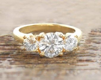 1.75CTW 14k Yellow Gold Three Stone Diamond Engagement Ring