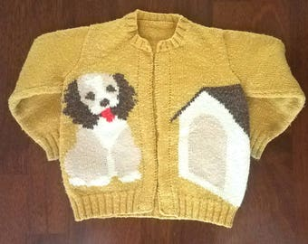 Vintage Childrens Knit Sweater Dog and Dog House Gold Brown Red Long Sleeve Hand Knit Unisex
