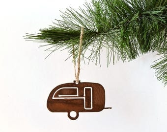 Trailor Metal Ornament by WATTO Distinctive Metal Wear / RV Life / Rusty Metal Ornament / Christmas Gift / Christmas Ornament / Wanderlust