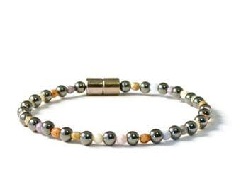 Black Magnetic Hematite Therapy Bracelet with Czech Glass