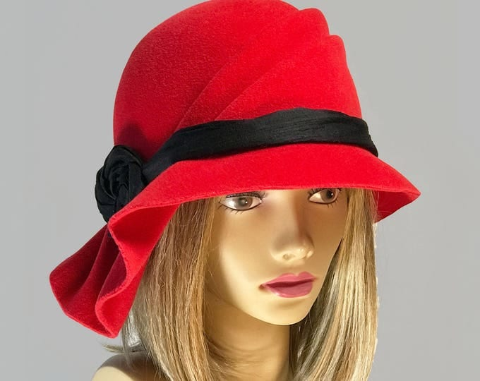 Featured listing image: Sophia, Red Velour Felt Cloche millinery hat with side draped pleats and black silk dupioni sash