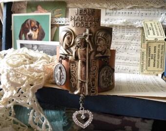 religious leather cuff bracelet recycled bold statement cross catholic religion church lady upcycled