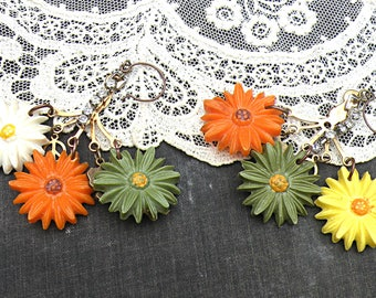 fall flower assemblage earrings hippie retro mum floral hippie trip upcycled vintage jewelry cottage chic orange green