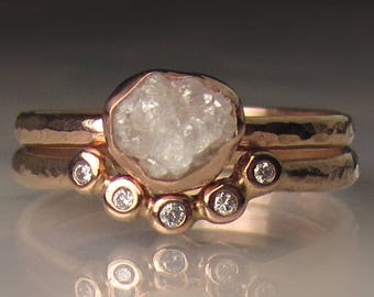 Raw Diamond Engagement Ring, 14k Rose Gold Rough Diamond Ring, White Hammered Rough Diamond Ring
