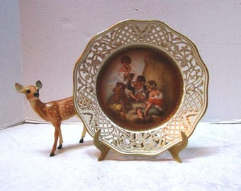 """Vintage Schumann Decorative Plate w/ 3 Boys Playing Dice"""" painting by Murillo Bartolome, Open work Perforated Reticulated, Dresden Porcelain"""