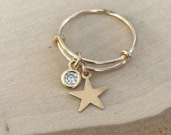 Gold Star Charm and Cubic Zirconia Adjustable Stacking Ring. Size 6-7