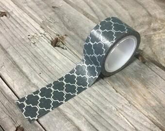 25% Off Summer Sale Washi Tape - 20mm - White Quatrefoil on Charcoal - Deco Paper Tape No. 874