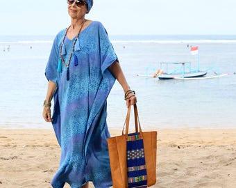 BATIK, Caftan, Maxi, Kaftan, Resort Wear, Bohemian, Island Style, Tropical Clothing, Beach Dress, Coverup, 3 Sizes