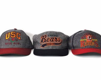 Vintage Caps Charcoal Wool Style Hats 90s Sports by Starter USC Rose Bowl Chicago Bears Washington DC Football NFL Gray