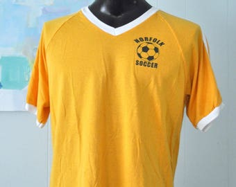 Soccer Jersey Tee Vintage Ringer Tshirt Striped Shirt Goldenrod VNeck Norfolk Ma Ct Connecticut Massachusetts Number 31 Retro LARGE