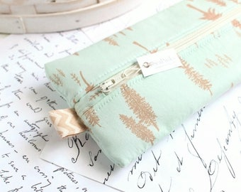 Woodland Pencil Case Mint Blue Zipper Bag Blue Pencil Case Back to School Students