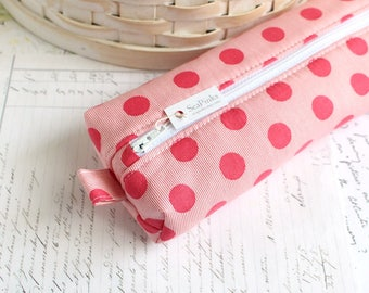 Pencil Case Pink Polka Dots Boxy Pouch Cute Polka Dot Pencil Pouch Zipper Pouch