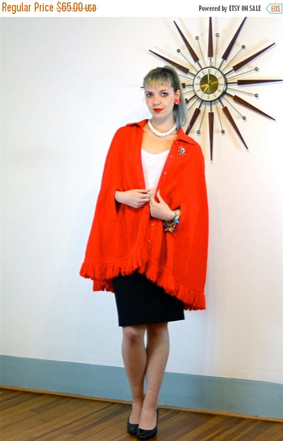 SALE 50% OFF Vintage 60s Red Knit Cape BRITISH Vogue Crochet Poncho Fringe Buttons Butterfly Collar Arm Slits Mod Retro 1960s Long Fringed S