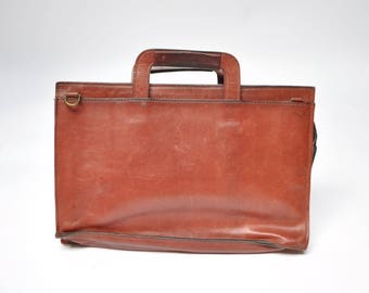 vintage leather satchel leather bag vintage briefcase 1980s tote attache folio
