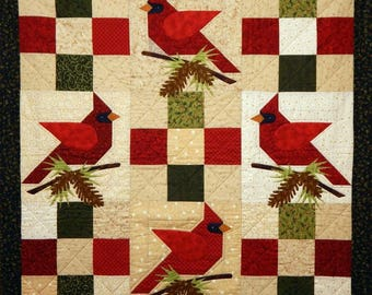 Winter's Song Finished and Quilted Cardinal Holiday Wall Quilt OOAK