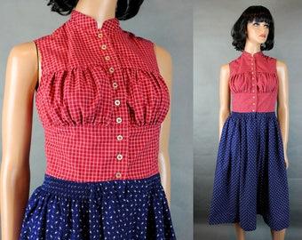 Vintage Dirndl Dress XS 38 Salzburger Red Plaid Blue Calico Oktoberfest Costume Free US Shipping