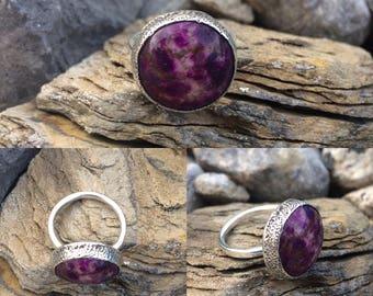 Purple Agate Ring, Statement Jewelry, Statement Ring, Purple stone ring, Large purple ring, gemstone ring, purple silver ring, agate jewelry