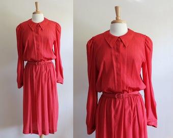 Vintage 1980s Red Polka Dot Shirtwaist Dress