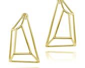 Reserved for Jeannette - 9K Gold Earrings, Geometric Earrings, Fine Jewelry, 9K Post Earrings, Fast Free Shipping