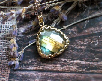 Labradorite Triangle Pendant Necklace | Charcoal Blue Green Copper Golden Flash | Bezel Set | 14k Gold Fill Chain Necklace | Ready to Ship