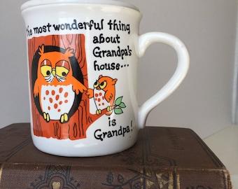 Vintage Grandpa Owl Mug with Lid