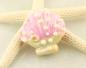 Glass Seashell Bead,  Lampwork Focal,  Scallop Shell Pearl Pink, Ivory, Ocean Beach