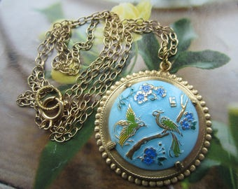 Blue Green and Gold Bird Of Paradise Necklace